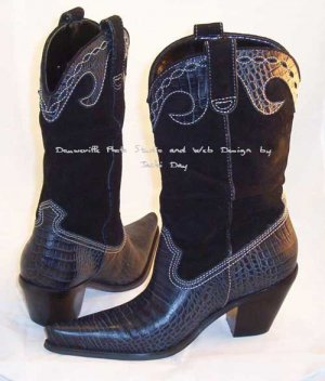 Hot In Hollywood Western WILD WEST BLACK Mid-Calf Boot Size 7