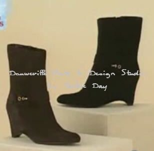 BANDOLINO Suede Wedge Ankle Boot Size with Buckle 8M