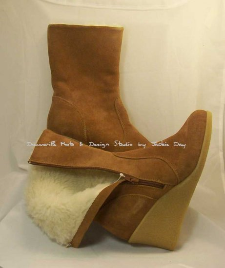 Suzanne Somers Suede Wedge Mid Calf Boot NUTMEG Size 8.5