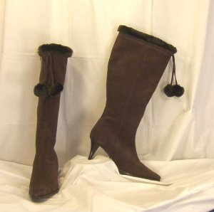 AJ Valenci Chocolate Tall Shaft Suede Boot Size 7.5
