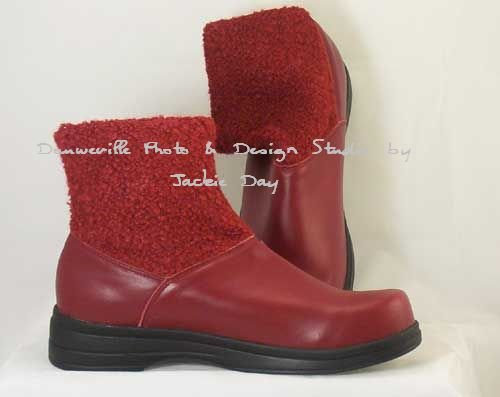 AJ Valenci Perfect Comfort RED Tonal Knit Round Toe Ankle Boot Size 7M