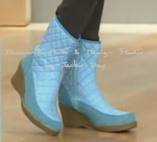 AJ VALENCI QUILTED MID CALF BOOT WEDGE SKY BLUE 7.5