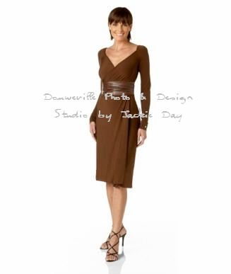 LUKASTYLE SWRAP Techno Jersey Long Sleeve Dress BROWN Medium