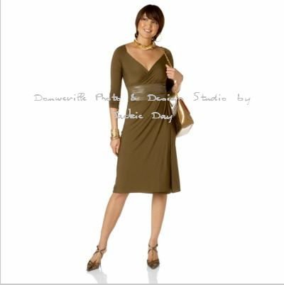 LUKASTYLE S'WRAP Techno Jersey Long Sleeve Dress OLIVE LARGE
