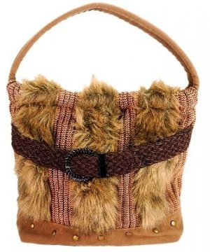 NATASHA Black Brown Faux Fur Handbag Medium
