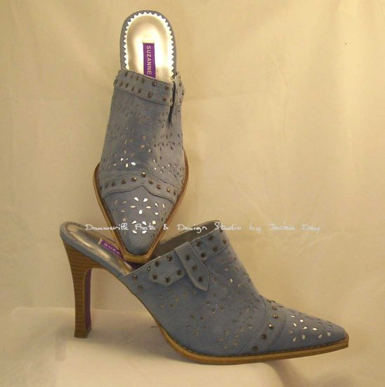 Suzanne SOMERS BLUE Faux Suede Laser Cut Studded Mule 9.5