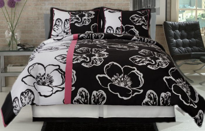 3PC Modern Twiggy Black & White Floral TWIN Comforter Set CS6243BWTW