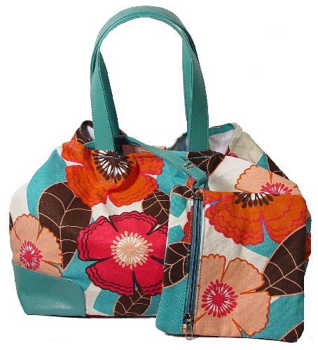 Turquoise and Coral Floral Purse with Matching Mini Bag