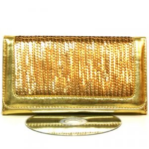 Sexy Trendy Gold Sequin Clasp Purse Mini  Wallet
