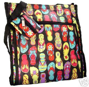 Cute and Fun Black Flip Flop Diaper Bag Beach Bag Tote Purse