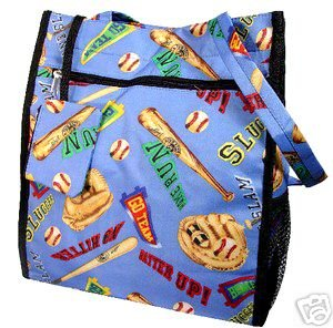 Baseball Mom Purse Diaper Bag Blue  BATS, BALLS, GO TEAM