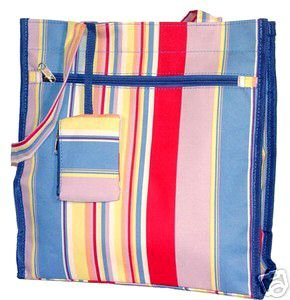 Trendy Blue Stripe Handbag Diaper Bag