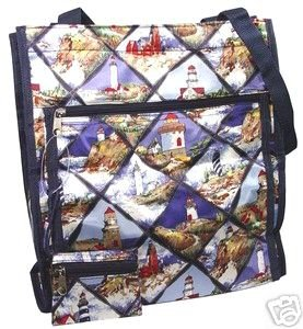 Lighthouse Beach Print Handbag Diaper Bag