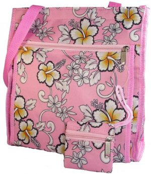 Pink #2 HAWAIIAN Floral Print Purse Diaper Beach Bag