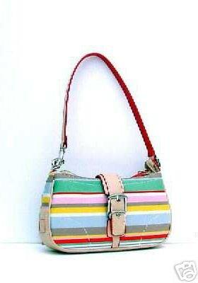 Multi Color Coral & Green Trendy Stripe Handbag Purse 2