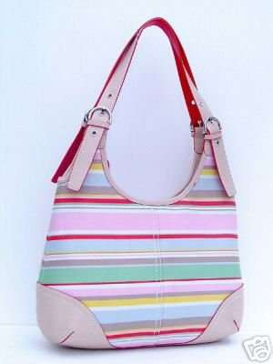 Multi Color Coral & Pink Trendy Stripe Handbag Purse