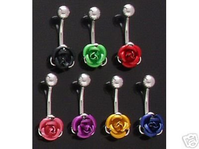 Sexy Rose Flower Belly Navel Ring Blue