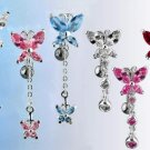 Butterfly Dangle Navel Belly Ring Deep Crimson Red