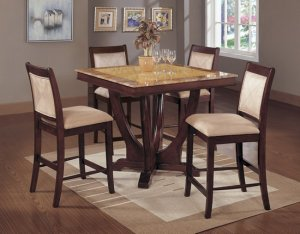MARBLE CAPPUCCINO COUNTER HEIGHT DINING TABLE SET