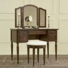 """Warm Cherry"" Vanity, Mirror & Stool Bedroom Furniture"
