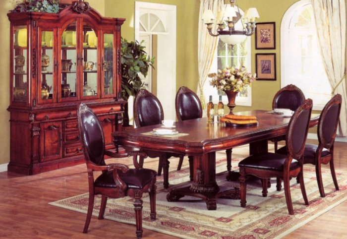 ITALIAN FORMAL DINING ROOM TABLE SET LEAF 7PC FURNITURE