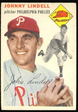 PHILADELPHIA PHILLIES JOHNNY LINDELL 1954 TOPPS # 51 EX