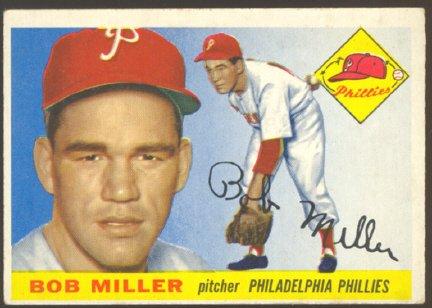 PHILADELPHIA PHILLIES BOB MILLER 1955 TOPPS # 157 VG