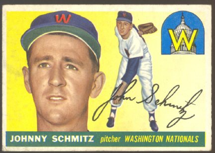 WASHINGTON NATIONALS JOHN SCHMITZ 1955 TOPPS #159 VG+