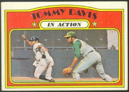 OAKLAND ATHLETICS TOMMY DAVIS I/A 1972 TOPPS # 42 VG/EX