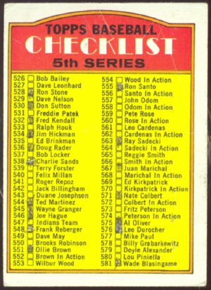 1972 TOPPS 5th SERIES CHECKLIST MARKED # 478 G/VG