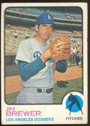 LOS ANGELES DODGERS JIM BREWER 1973 TOPPS # 126 VG