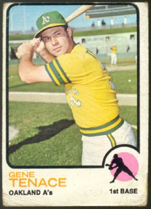 Oakland Athletics Gene Tenace 1973 Topps Baseball Card 524 fair/good
