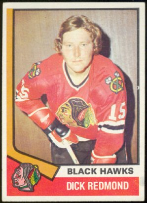CHICAGO BLACK HAWKS DICK REDMOND 74/75 TOPPS # 186 EX