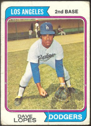 LOS ANGELES DODGERS DAVE LOPES 1974 TOPPS # 112 G