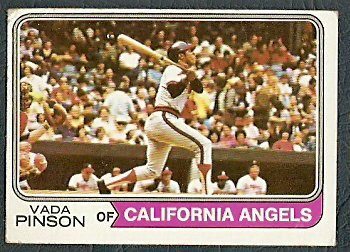 CALIFORNIA ANGELS VADA PINSON 1974 TOPPS # 490 G