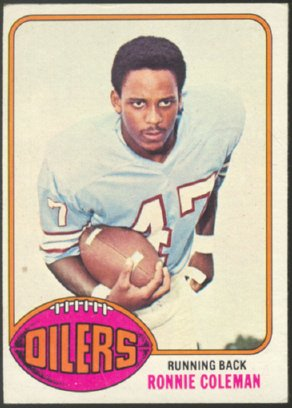 HOUSTON OILERS RONNIE COLEMAN 1976 TOPPS # 22 EX+