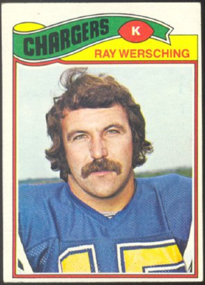 SAN DIEGO CHARGERS RAY WERSCHING 1977 TOPPS # 57 VG