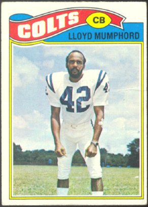 BALTIMORE COLTS LLOYD MUMPHORD 1977 TOPPS # 153 VG