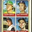 ROOKIE PITCHERS ATHLETICS ABBOTT METS SWAN RANGERS HENNINGER TWINS VOSSLER 1974 TOPPS # 602 F