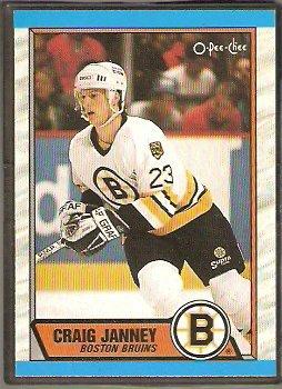 BOSTON BRUINS CRAIG JANNEY ROOKIE CARD 1989 OPC O PEE CHEE # 190