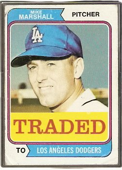 LOS ANGELES DODGERS MIKE MARSHALL 1974 TOPPS # 73T G