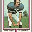 Houston Oilers Paul Guidry 1974 Topps Football Card # 22 ex/em