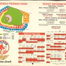 BOSTON RED SOX 1989 SCHEDULE & FENWAY PARK SEATING PLAN