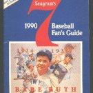 1990 SEAGRAMS 7 WHISKEY BASEBALL GUIDE NEW YORK YANKEES BABE RUTH