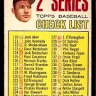NEW YORK YANKEES MICKEY MANTLE 1967 TOPPS 2ND SERIES CHECKLIST # 103 marked