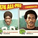 ALL PRO CB's GREEN BAY PACKERS WILLIE BUCHANON CINCINNATI BENGALS LEMAR PARRISH 1975 TOPPS # 221 VG