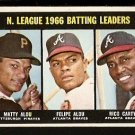 N.L. BATTING LDR PITTSBURGH PIRATES MATTY ALOU ATLANTA BRAVES RICO CARTY FELIPE ALOU 1967 TOPPS 240