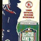 BOSTON RED SOX 1999 POCKET SCHEDULE ALL STAR GAME