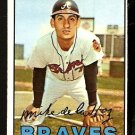 ATLANTA BRAVES MIKE DE LA HOZ 1967 TOPPS # 372 NR MT