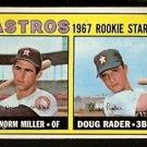HOUSTON ASTROS ROOKIE STARS NORM MILLER DOUG RADER 1967 TOPPS # 412 EX